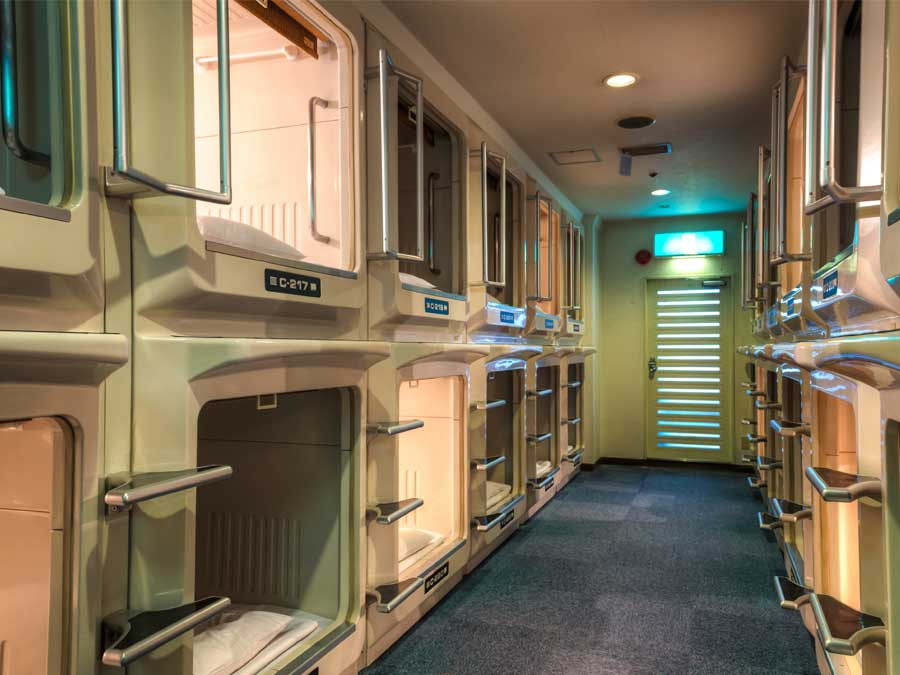 Capsule hotel accommodation in Japan