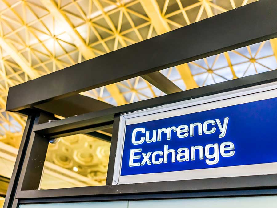 Foreign currency exchange booth at an airport