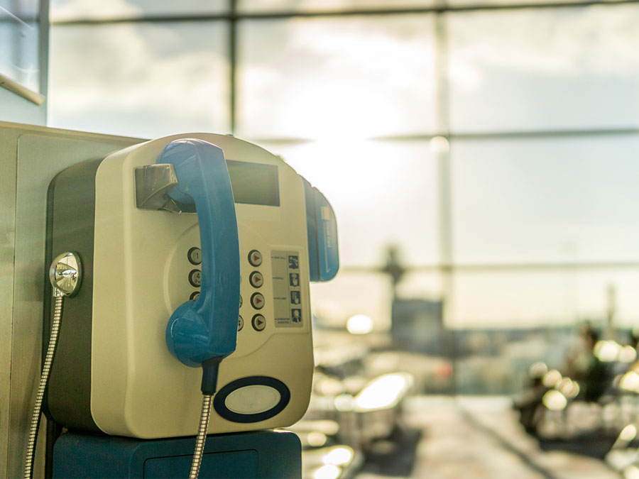 A public telephone in an airport