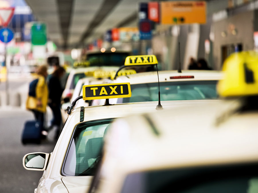 Taxi rank outside an airport