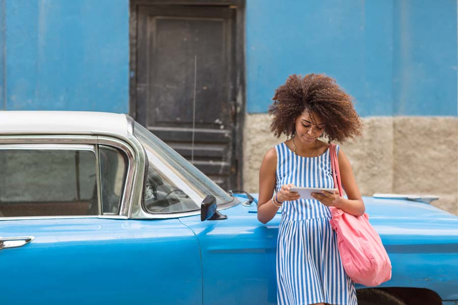 female traveller enjoying cuba