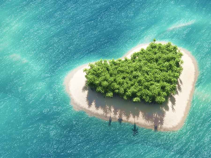 Heart shaped island
