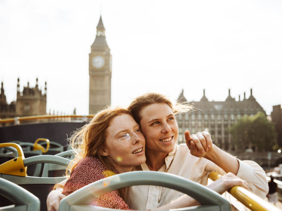 Couple travelling in London