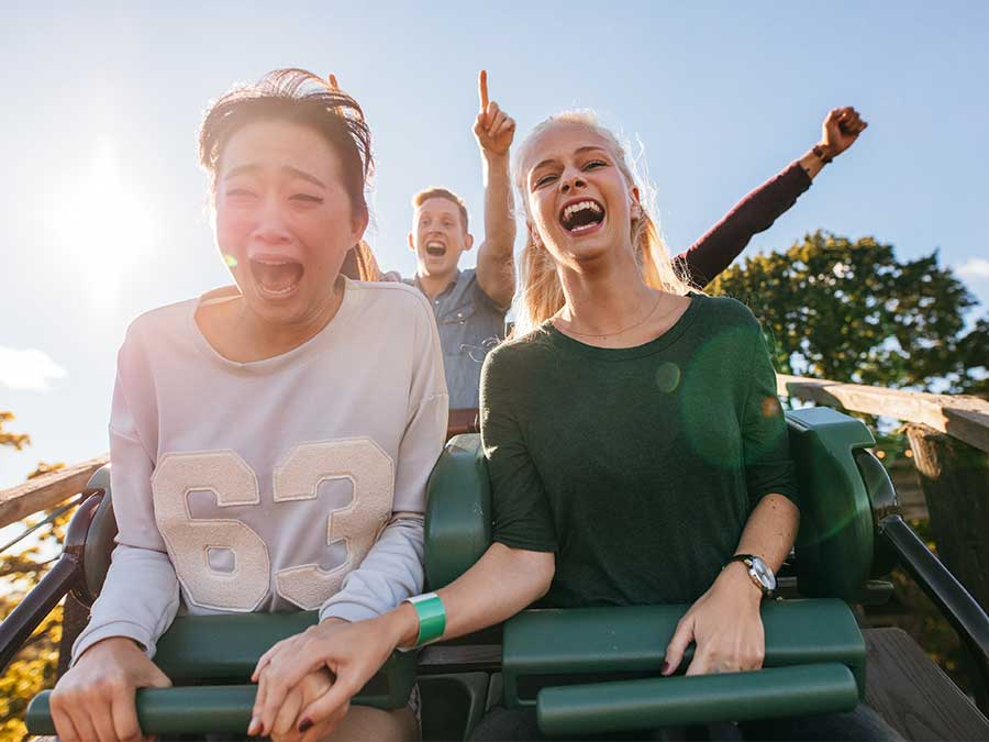 Girls on a roller coaster