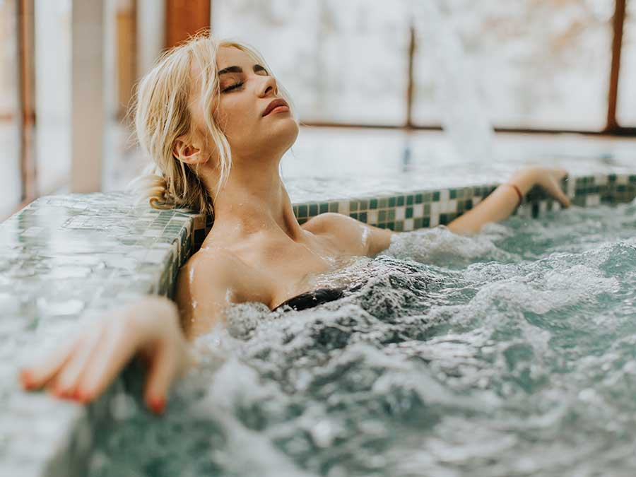 Woman relaxing in a spa